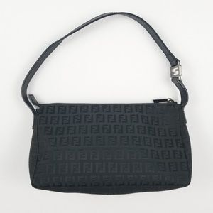 Fendi Logo Designer Black Zucca Shoulder Bag